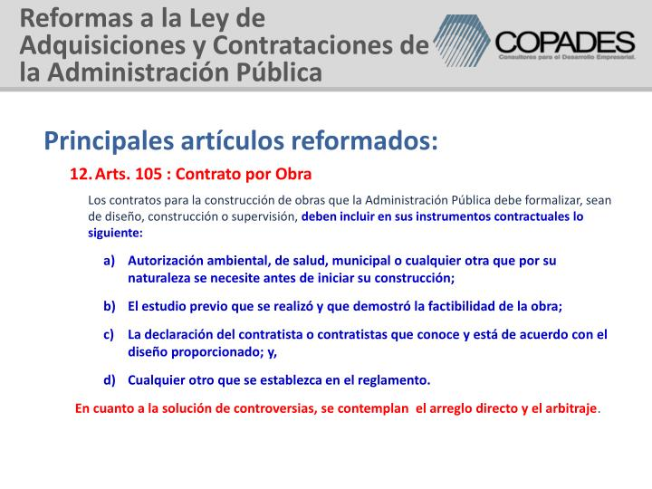 Reformas a la Ley de Adquisiciones y Contrataciones de la Administración Pública