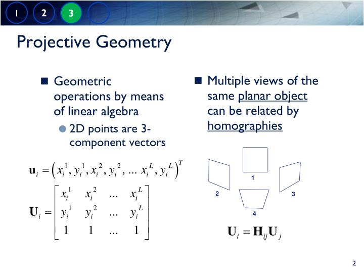 Geometric operations by means of linear algebra