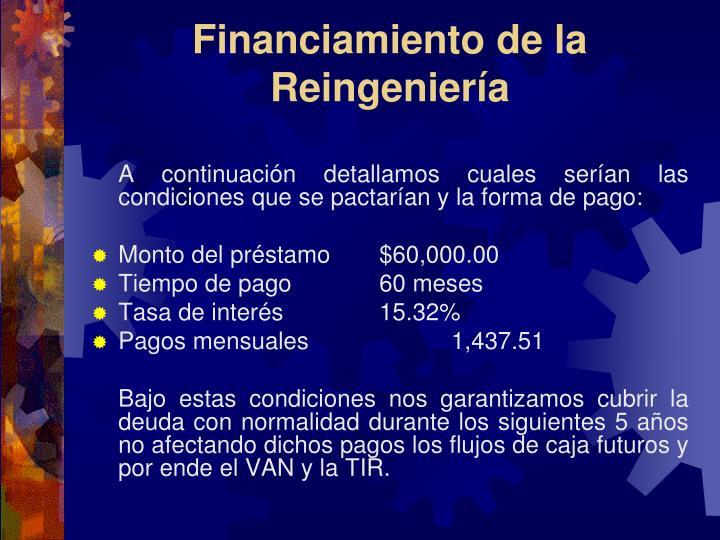 Financiamiento de la Reingeniería