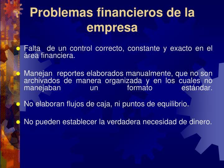 Problemas financieros de la empresa