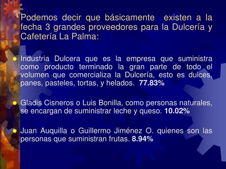 Podemos decir que básicamente  existen a la fecha 3 grandes proveedores para la Dulcería y Cafetería La Palma: