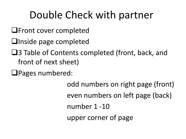 Double Check with partner