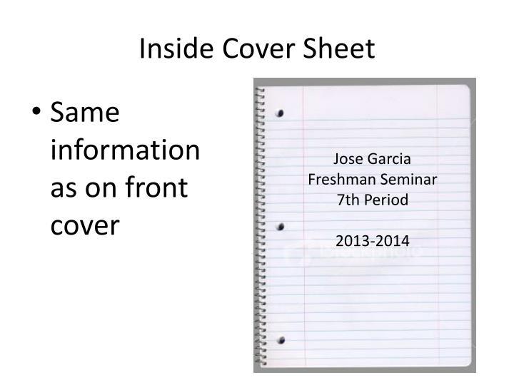 Inside Cover Sheet