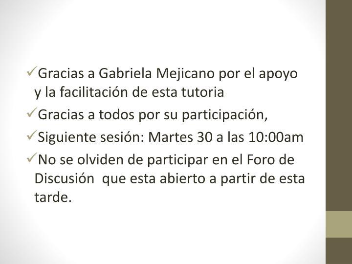 Gracias a Gabriela Mejicano por el apoyo y la facilitación de esta