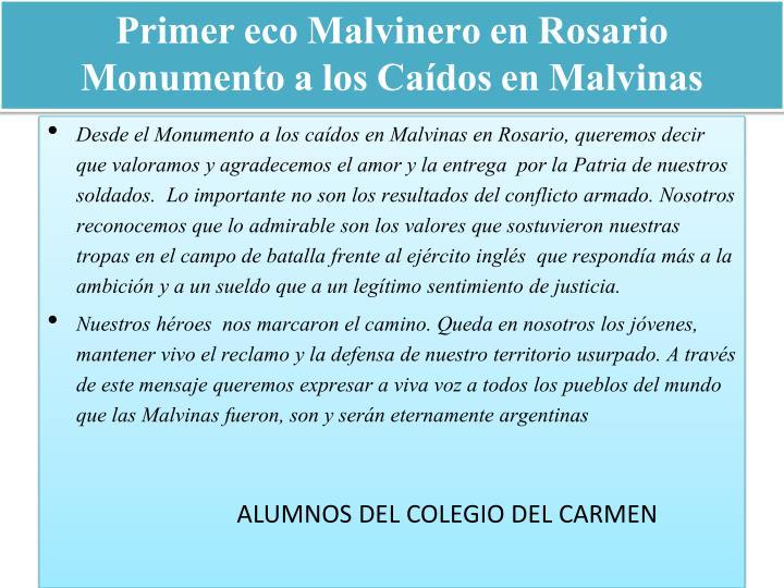 Primer eco Malvinero en Rosario