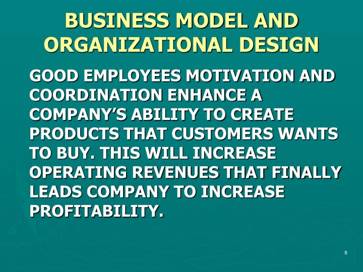 BUSINESS MODEL AND ORGANIZATIONAL DESIGN