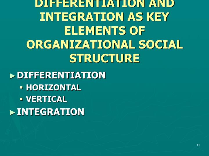 DIFFERENTIATION AND INTEGRATION AS KEY ELEMENTS OF ORGANIZATIONAL SOCIAL STRUCTURE