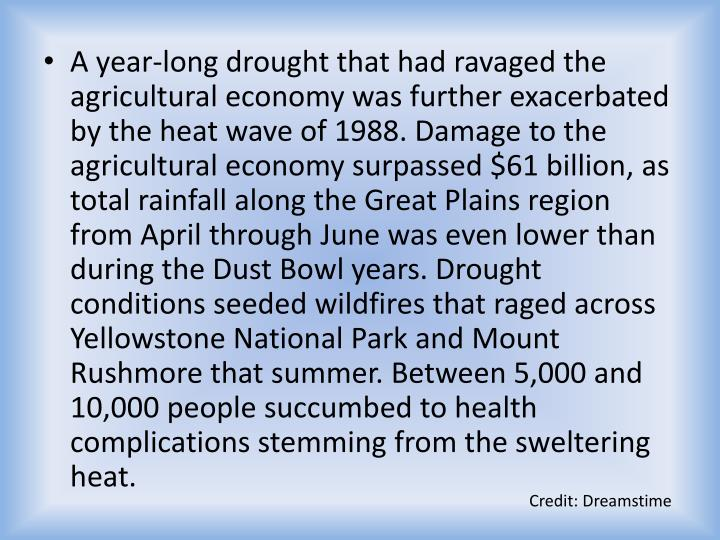 A year-long drought that had ravaged the agricultural economy was further exacerbated by the heat wave of 1988. Damage to the agricultural economy surpassed $61 billion, as total rainfall along the Great Plains region from April through June was even lower than during the Dust Bowl years. Drought conditions seeded wildfires that raged across Yellowstone National Park and Mount Rushmore that summer. Between 5,000 and 10,000 people succumbed to health complications stemming from the sweltering heat