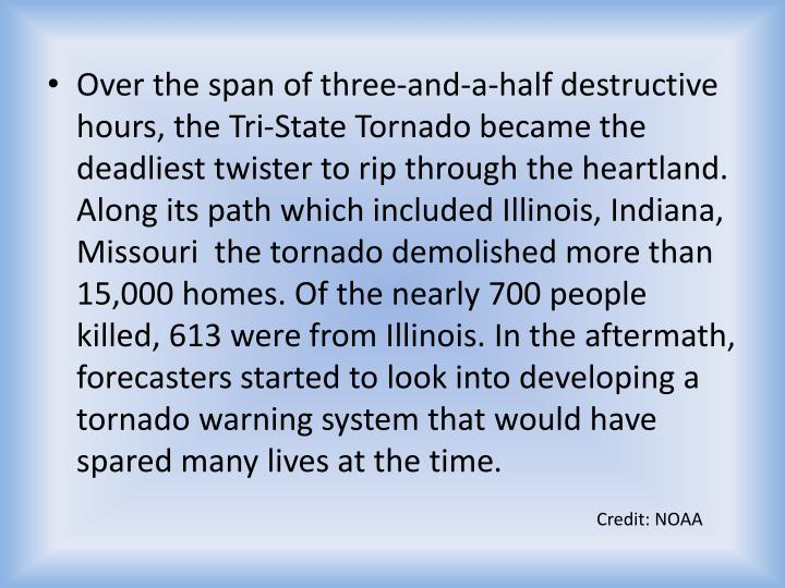 Over the span of three-and-a-half destructive hours, the Tri-State Tornado became the deadliest twister to rip through the heartland. Along its