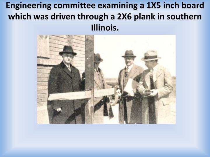 Engineering committee examining a 1X5 inch
