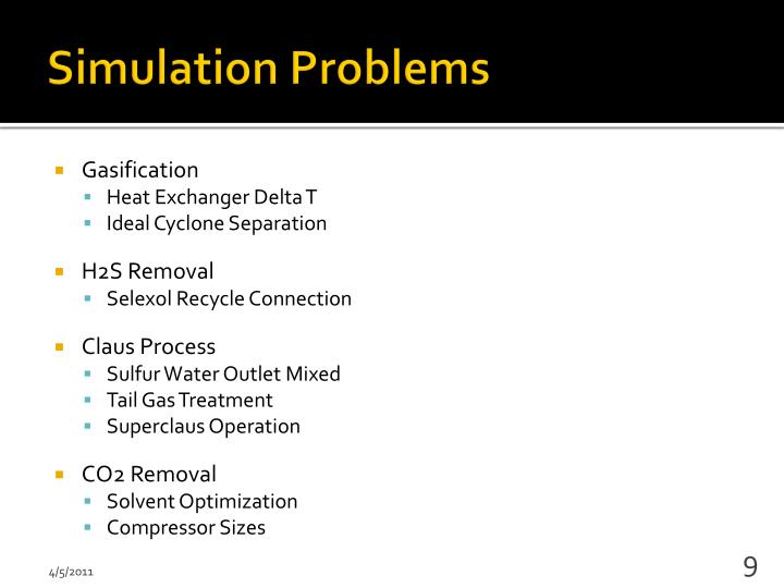 Simulation Problems