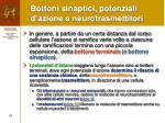 bottoni sinaptici potenziali d azione e neurotrasmettitori