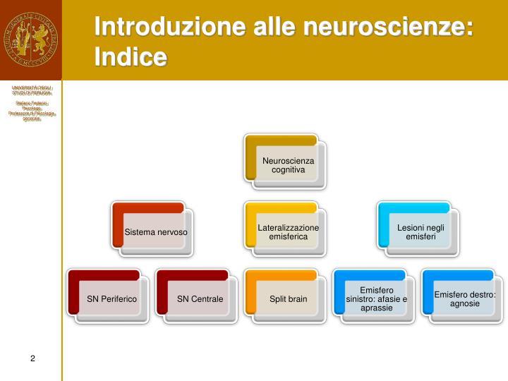 Introduzione alle neuroscienze: Indice