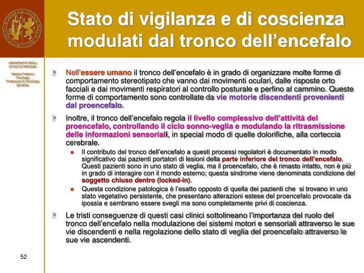 Stato di vigilanza e di coscienza modulati dal tronco dell'encefalo