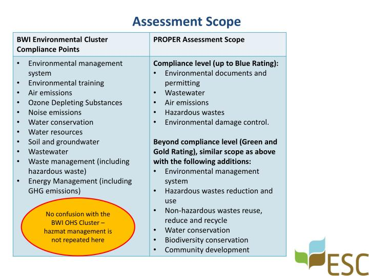 Assessment scope