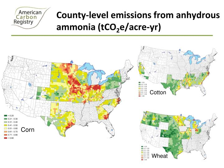 County-level emissions from anhydrous ammonia (tCO