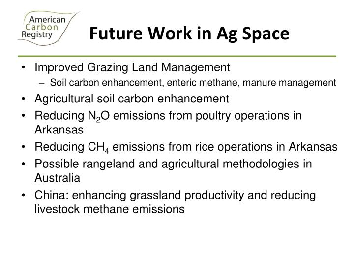 Future Work in Ag Space