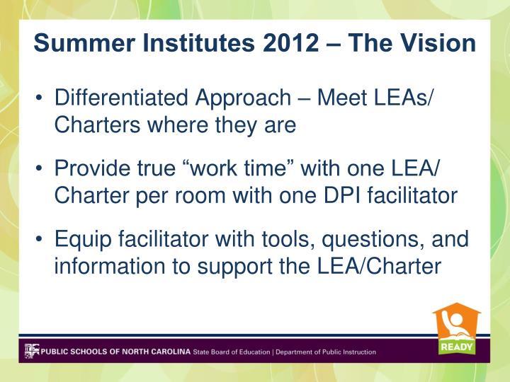 Summer Institutes 2012 – The Vision