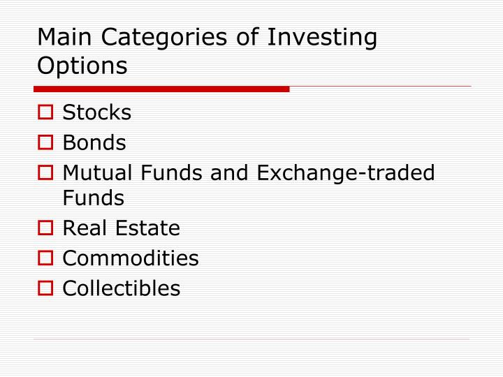 Difference between stocks bonds and options