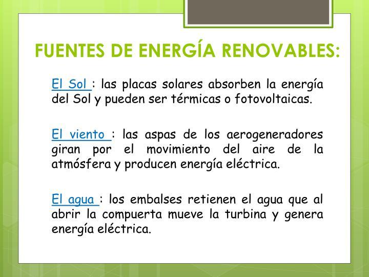 FUENTES DE ENERGÍA RENOVABLES: