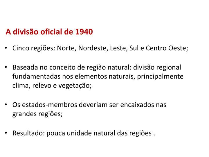 A divisão oficial de 1940