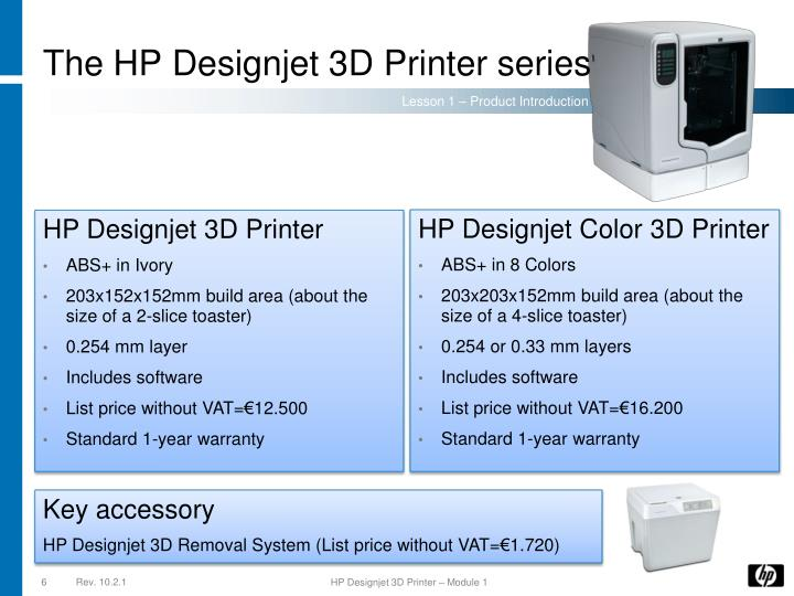 The HP Designjet 3D Printer series