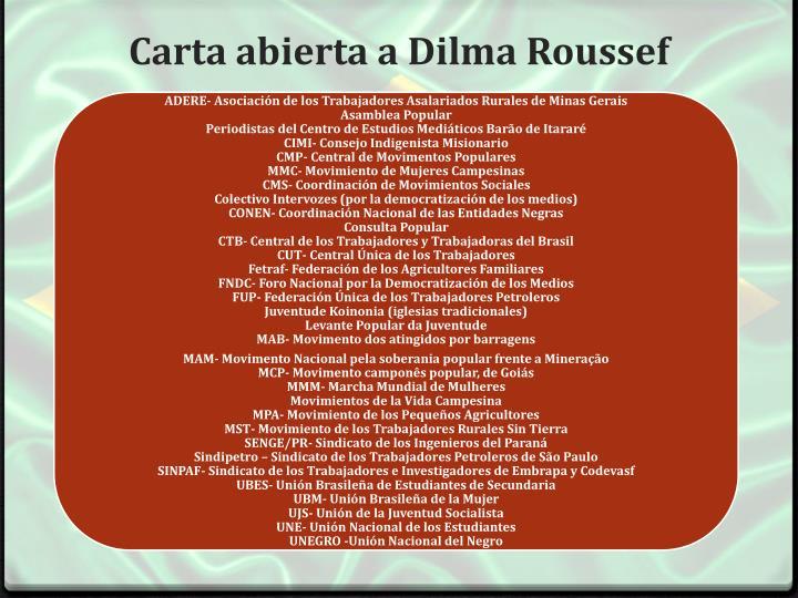 Carta abierta a Dilma Roussef