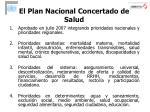 el plan nacional concertado de salud