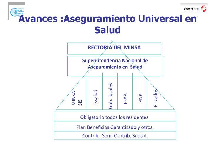 Avances :Aseguramiento Universal en Salud