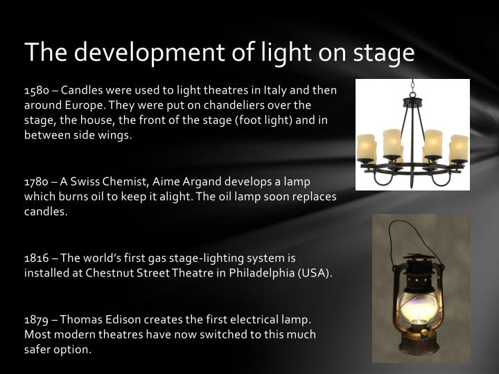 The development of light on stage