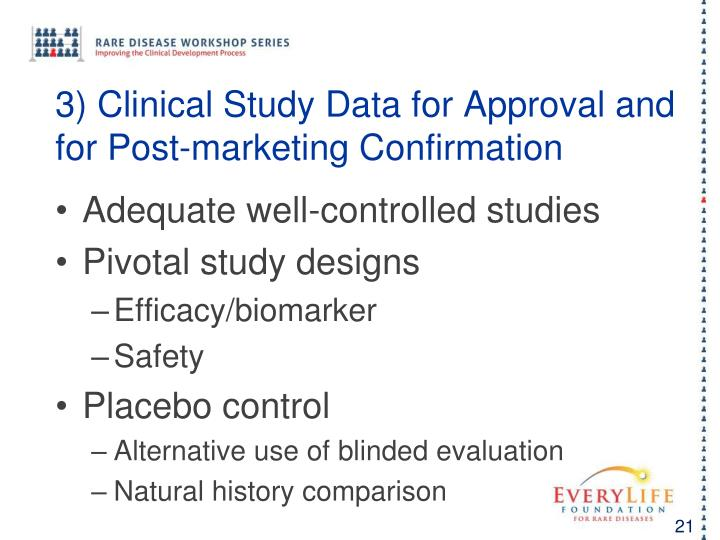 3) Clinical Study Data for Approval and for Post-marketing Confirmation