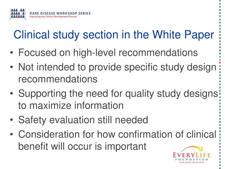 Clinical study section in the White Paper