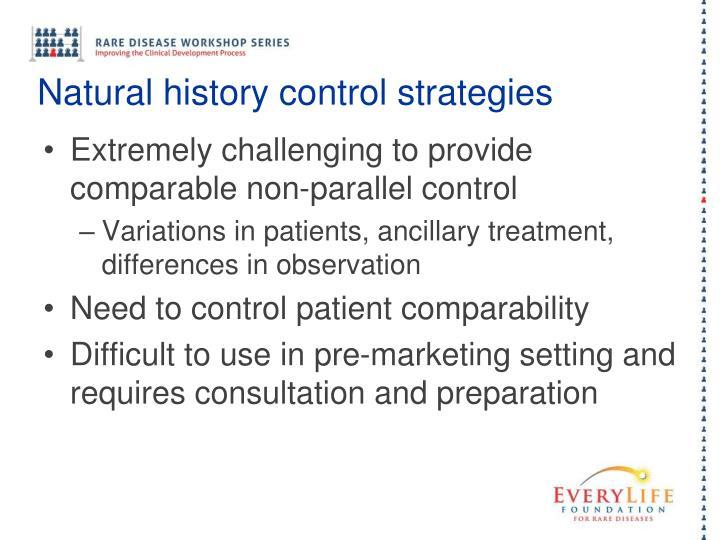 Natural history control strategies