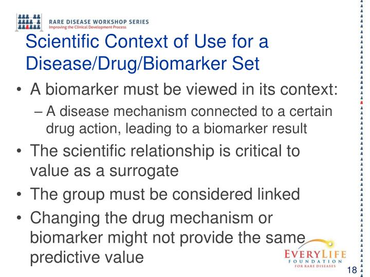 Scientific Context of Use for a Disease/Drug/Biomarker Set