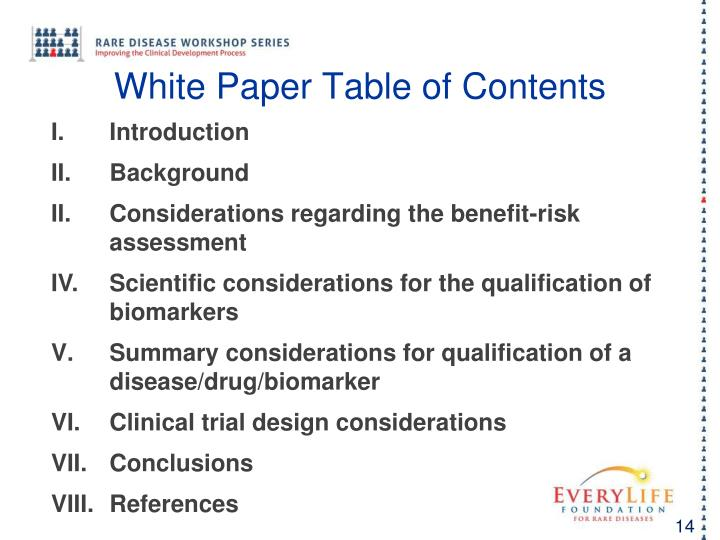 White Paper Table of Contents