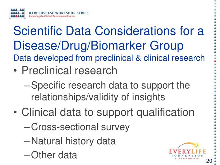 Scientific Data Considerations for a Disease/Drug/Biomarker Group