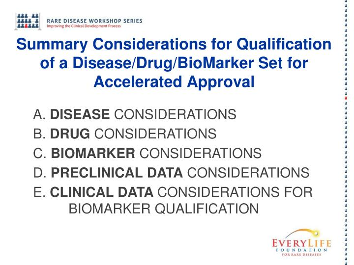 Summary Considerations for Qualification of a Disease/Drug/