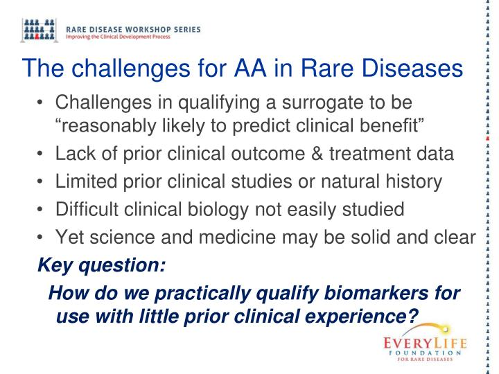 The challenges for AA in Rare Diseases
