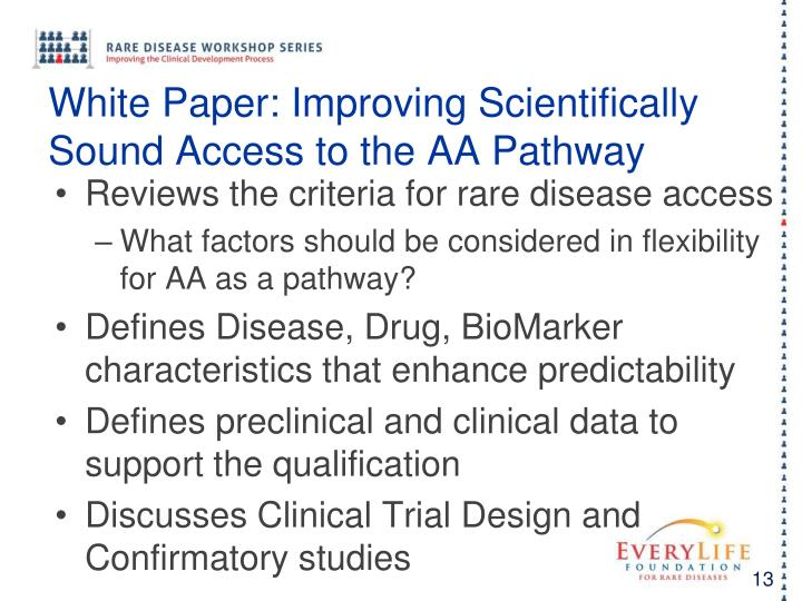 White Paper: Improving Scientifically Sound Access to the AA Pathway