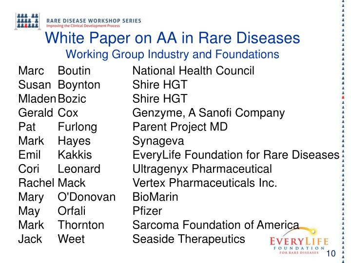 White Paper on AA in Rare Diseases