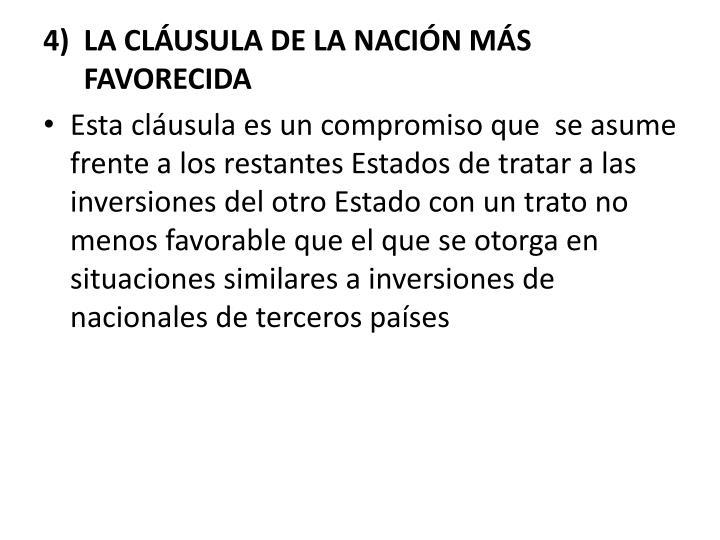 LA CLUSULA DE LA NACIN MS  FAVORECIDA