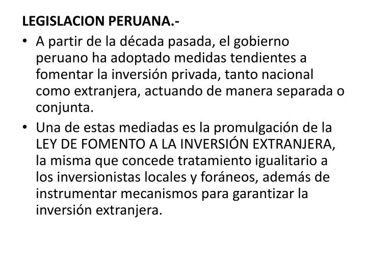 LEGISLACION PERUANA.-