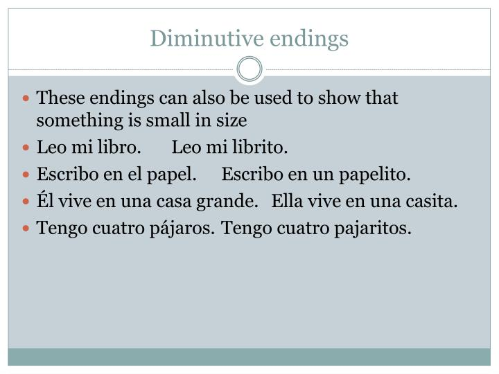 Diminutive endings
