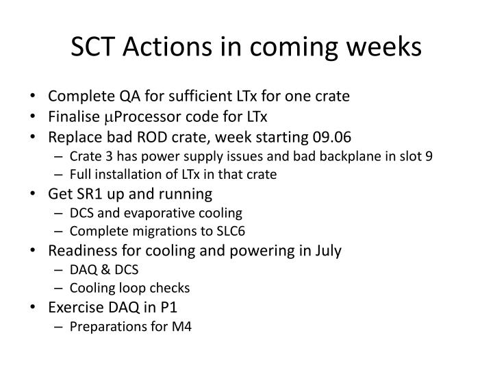 SCT Actions in coming weeks