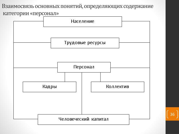Взаимосвязь основных понятий, определяющих содержание