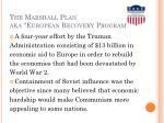 the marshall plan aka european recovery program