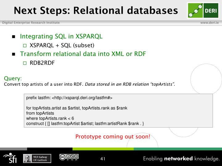Next Steps: Relational databases