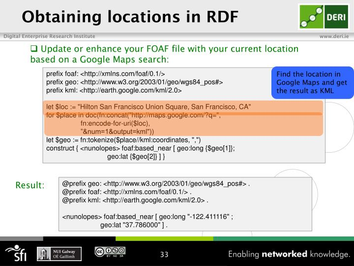 Obtaining locations in RDF