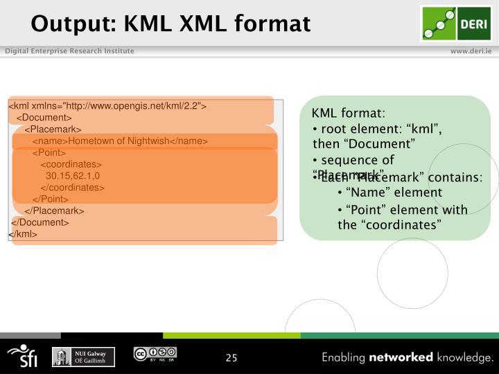 Output: KML XML format