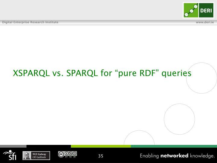 "XSPARQL vs. SPARQL for ""pure RDF"" queries"